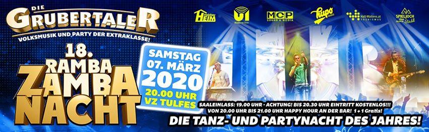 18. Ramba Zamba Nacht - Sa 07. März 2020 - VZ Tulfes/Tirol